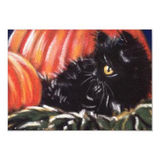 Cartão Gato preto do Dia das Bruxas que esconde em