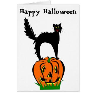 Cartão Gato preto e abóbora do Dia das Bruxas engraçado