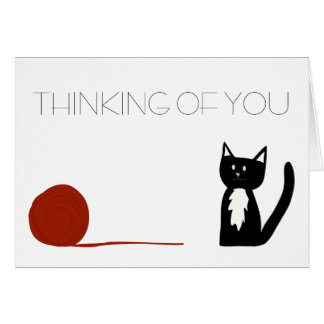 Cartão Gato preto e branco do smoking que pensa de você