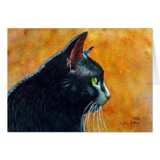 Cartão Gato preto no perfil, cócegas