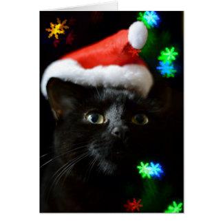 Cartão Gato preto no tempo do Natal