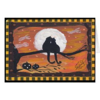 Cartão Gato preto o Dia das Bruxas