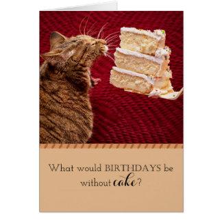 Cartão Gato que come o bolo