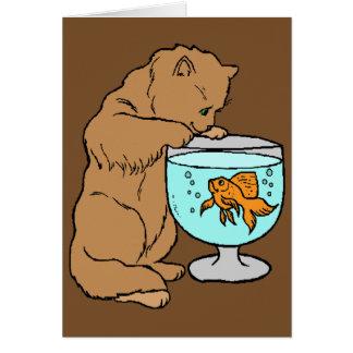 Cartão Gato que joga com peixe dourado