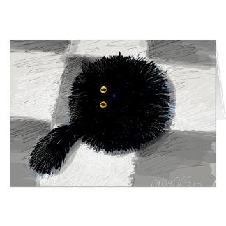 Cartão gato que olha acima