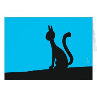 Cartão Gato que olha calma no silêncio