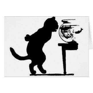Cartão Gato que olha fixamente na silhueta preta & branca