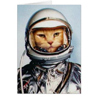 Cartão Gato retro do astronauta 60s