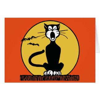 Cartão Gato retro e lua do urro o Dia das Bruxas