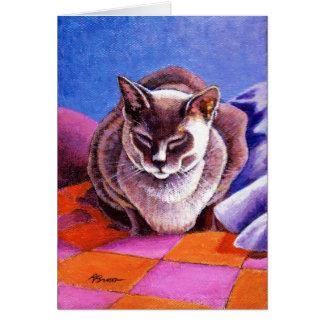 Cartão Gato Siamese em uma edredão de retalhos