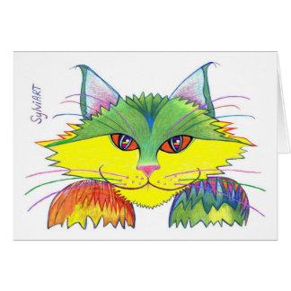 """Cartão """"Gato traquina"""", direitos reservados ©2003,"""