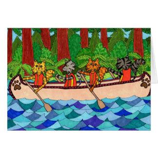 Cartão Gatos Canoeing