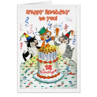 Cartão Gatos cómicos do canto 12o aniversário específico