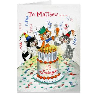 Cartão Gatos cómicos do canto aniversário específico à