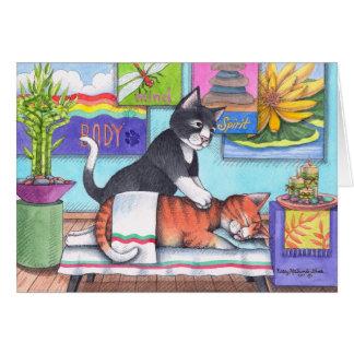 Cartão Gatos da massagem (botão & Tony) Notecard