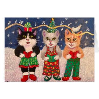 Cartão Gatos de Caroling