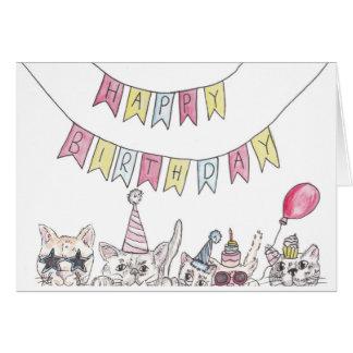 Cartão Gatos do aniversário