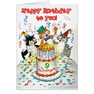 Cartão Gatos do canto aniversário específico à idade