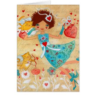 Cartão Gatos do Cupido do dia dos namorados com corações
