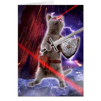 Cartão gatos do guerreiro - gato do cavaleiro - laser do
