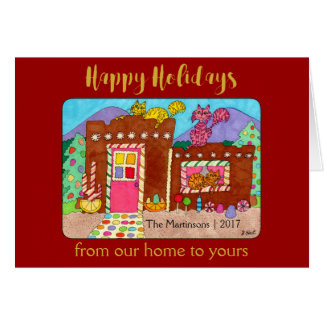 Cartão Gatos & feriado de luxe da casa de pão-de-espécie