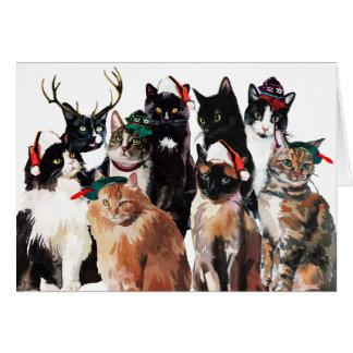 Cartão Gatos festivos Clowder da aguarela boas festas