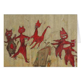 Cartão gatos fraidy, arte original, assustador, estranha
