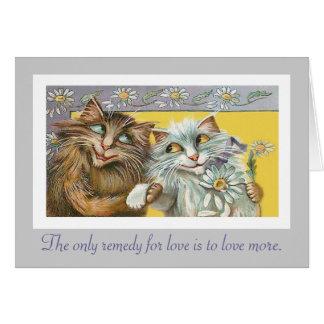 Cartão Gatos no amor e nas citações de Thoreau
