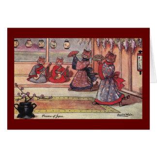 Cartão Gatos no vintage Louis Wain dos quimonos