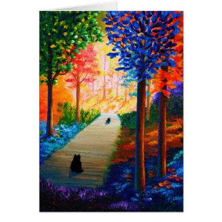 Cartão Gatos pretos da paisagem colorida das árvores da