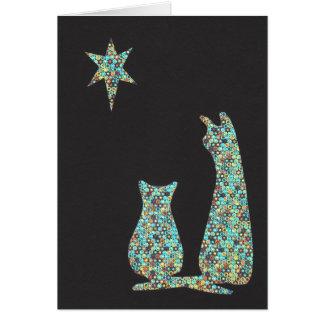 Cartão gatos que stargazing