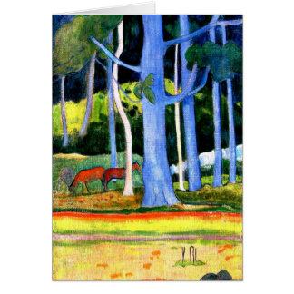 Cartão Gauguin - paisagem com os dois troncos de árvore