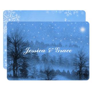 Cartão Gay/convite azul lésbica do casamento no inverno