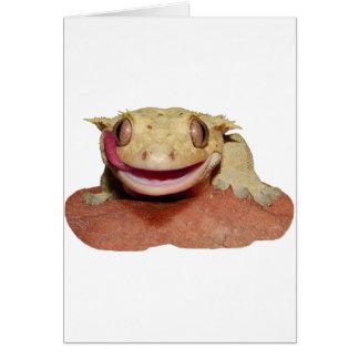 Cartão Geco com crista que sorri e que lambe