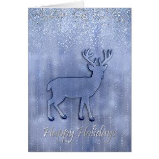Cartão gelado do feriado da silhueta dos cervos
