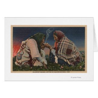 Cartão Geleira, TA - fumo Blackfoot de dois nativos