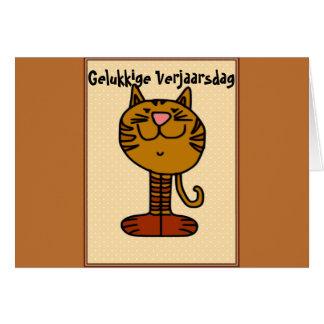 Cartão Gelukkige Verjaarsdag - Kat