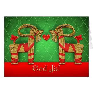 Cartão Gêmeos de Julbok do sueco com Natal de julho do