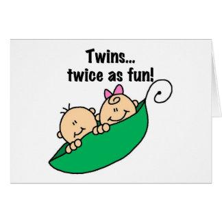 Cartão Gêmeos do vagem de ervilha duas vezes como o