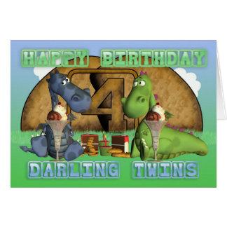 Cartão Gêmeos queridos do feliz aniversario, pares de