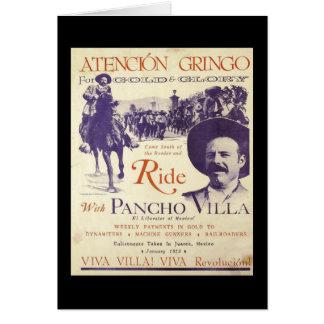 Cartão General mexicano Pancho Villa do herói