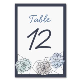 Cartão geométrico da mesa do casamento do
