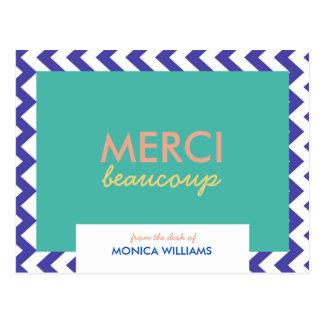 Cartão geométrico de Merci Beaucoup do monograma