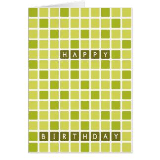 Cartão geométrico quadrado verde do feliz