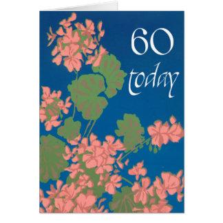 Cartão Gerânio do rosa Salmon no azul profundo, 60th