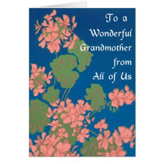 Cartão Gerânio do rosa Salmon no azul profundo, avó