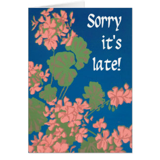 Cartão Gerânio do rosa Salmon no azul profundo, tardivo