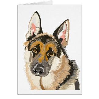 Cartão German shepherd lindo, desenho do cão de Alsation