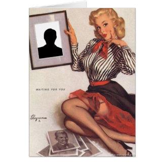 Cartão Gil Elvgren - esperando o