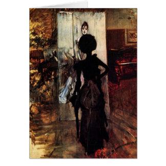 Cartão Giovanni Boldini - mulher na frente da pintura